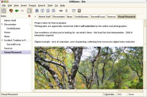 Example Zim wiki showing image incorporated in a note